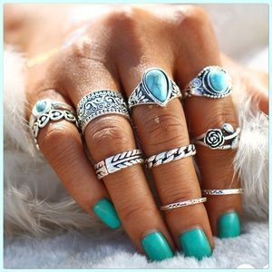 NWT Fun 10pcs.Turquoise Silver Fashion Ring Set